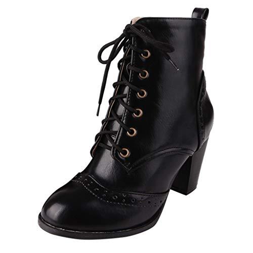 Kaister Damen Round Toe Hohe Stiefel Schnürstiefeletten Beiläufige Große Dicke Fersen Einzelne Hight Heel Combat Boots