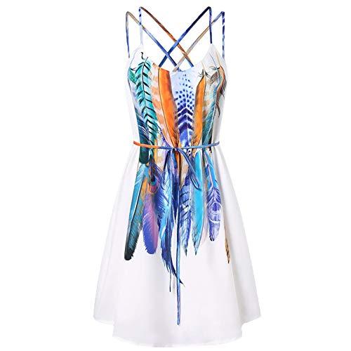 ZYZS Vestido ajustado con estampado de estilo europeo y americano para mujer. Blanco XXL