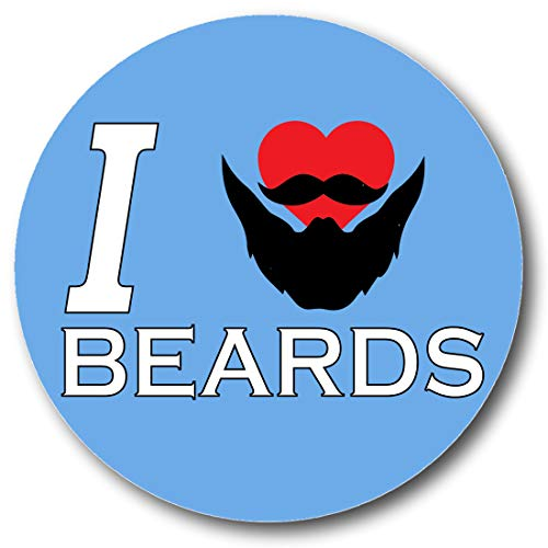 Generic Gifts & Gadgets Co Anstecknadel I Love Beards, 25 mm, Schmetterlings-Motiv, rund