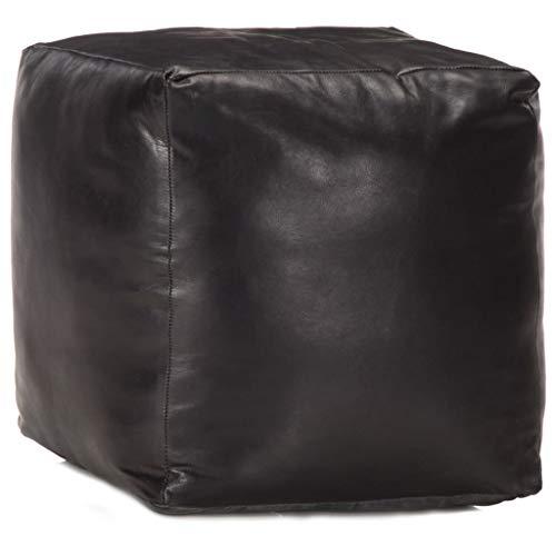 vidaXL Pouf Sitzpouf Sitzhocker Sitzpuff Puff Fußbank Fußhocker Hocker Würfel Sitzwürfel Ottoman Sitzkissen Schwarz 40x40x40cm Echtes Ziegenleder
