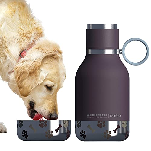 Asobu Dog Bowl Attached to Stainless Steel Insulated Bottle 1 Liter (Burgundy)