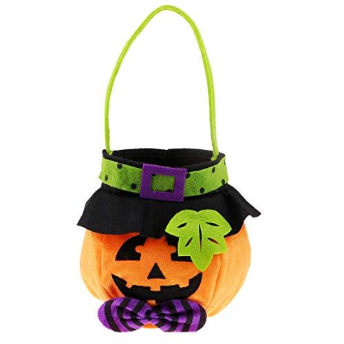 D DOLITY Deko Kürbis Candy Bag Süßigkeiten Tasche Beutel Handtasche für Halloween, orange