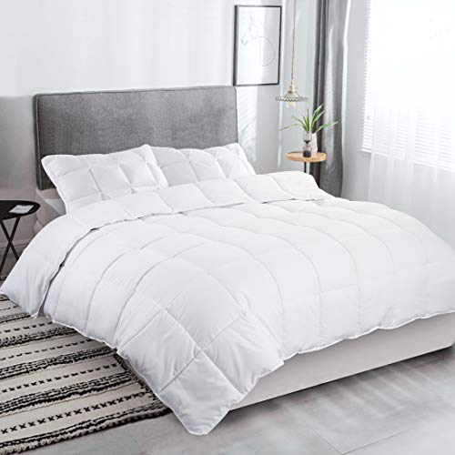FAIRYLAND Duvet 4.5 Tog Summer Quilt Cool Lightweight Hypoallergenic Soft Hollowfibre Corner tie (White(4.5Tog), Single)