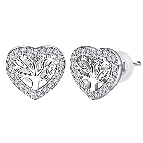 Yin sen Árbol de la Vida Pendientes para Mujer Plata de ley 925,Corazón Pendientes con Caja de Regalo