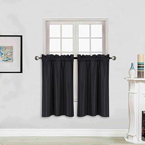 "Better Home Style 100% Blackout 2 Tiers Window Treatment Curtain Insulated Drapes Short Panels for Kitchen Bathroom Basement RV Camper or Any Small Window M3024 (Black, 2 Panels 28"" W X 24"" L Each)"