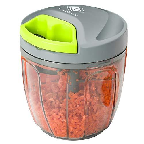 Kalokelvin Zwiebelschneider, Gemüseschneider Zwiebel Zerkleinerer Manuell Küche Küchenmaschine mit 5 Klingen für Babynahrung, Obst und Gemüse, Fleisch (900ml)