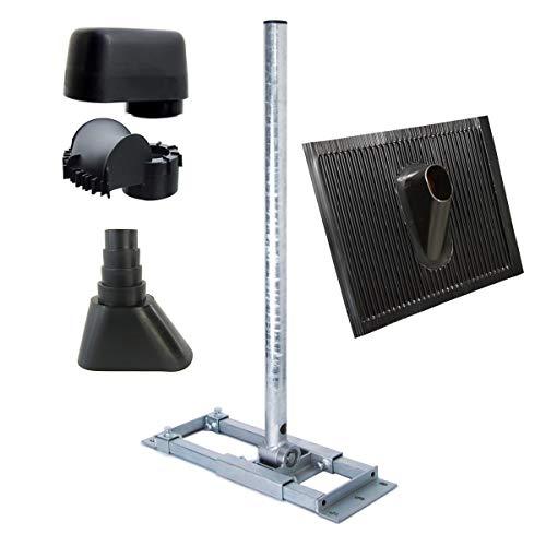 PremiumX Deluxe X90-60 Dachsparrenhalter 90cm Ø 60 mm Mast + Mastkappe mit Kabeldurchführung + Dach-Abdeckung + Gummimanschette Schwarz