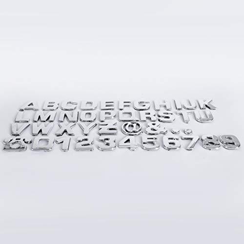 Lamoutor 40 Stück Auto-Emblem-Buchstaben Aufkleber DIY 3D Chrom Zahlen Symbol Abzeichen Aufkleber
