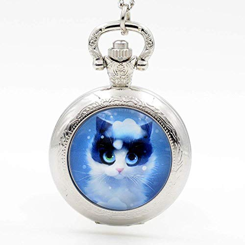 Vintage Adorable Chat Bleu faite à la main montre de poche Collier Jewellery montres à quartz...