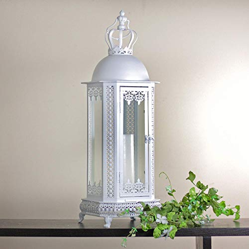 Allstate 30523276 30' Antique White Crown Top Floral Glass Candle Lantern