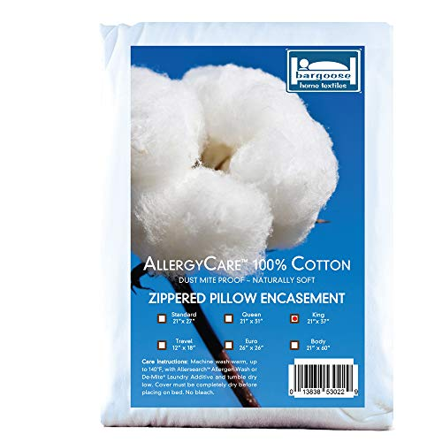 BARGOOSE Home Textiles King, AllergyCare 100% Cotton, Dust Mite Allergen Proof, Zippered Pillow Cover/Protector (King)