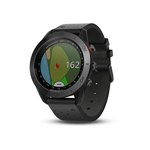 Garmin Enfoque S60Premium GPS Reloj Negro cerámica con Correa de Piel