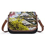 Xingruyun Umhängetasche Mädchen Pavillon Schultertaschen Leder Geldbörse Groß Kapazität Damen Crossbody Bag Für Reisen Schule Büro 31x22x11cm