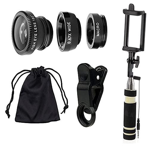 Set di lenti per fotocamera per telefono cellulare, kit di lenti universali e bastone per selfie.