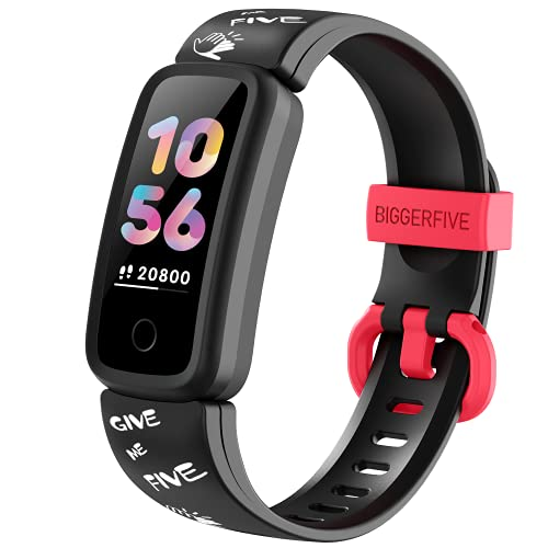 BIGGERFIVE Pulsera Actividad Inteligente para Niños Niñas, Reloj Inteligente con Podómetro Pulsómetros Monitor de Sueño Contador de Caloría, Impermeable IP68 Pulsera Deportiva Deportivo Smartwatch