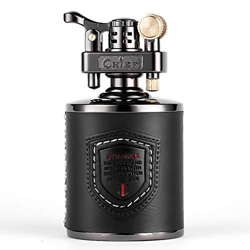 Mecheros Gasolina Antiguos - Encendedor clásico Palisandro Retro Madera Maciza Encendedor Creativo Queroseno, Reutilizable, Antiguo (Combustible no Incluido),Leather-Black