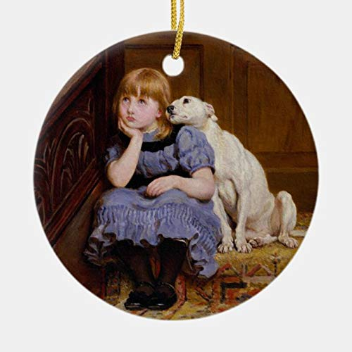 McC538arthy Personalized Christmas Memorial Ornament, Dog Comforting Girl Sympathy by Riviere Briton Holiday Ceramic Keepsake Memorial Gifts Sympathy Gift Xmas Hanging Decor 3''