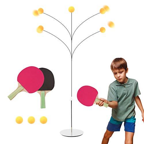Surplex Tischtennistrainer mit Elastischem Weichem Schaft, Höhenverstellbar, Mit 2 Schlägern Und 3 Übungsbällen Für Anfänger/Selbsttraining/Freizeit/Dekompression/Kind Indoor Outdoor Spielen