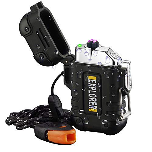 Waterproof LighterArc Lighter Rechargeable USB Lighters Windproof Flameless Electric Lighter with Paratinder Lanyard and Emergency Whistle for Camping Hiking Outdoor Survival