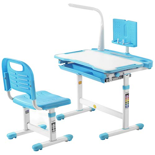 Kids Desk and Chair Set Height Adjustable Children Study Table with Light, Ergonomic Home School Use Student Writing Desk, Tilt Desktop with Reading Board and Pull Out Drawer, Blue