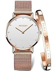 Aesop「イソップ」アマゾントップ腕時計 レデイース腕時計 祝日のギフト 極薄型女性用ウオッチ シンプル腕時計 クラシックウオッチ ピンクゴールド女子腕時計 白黒ダイアル