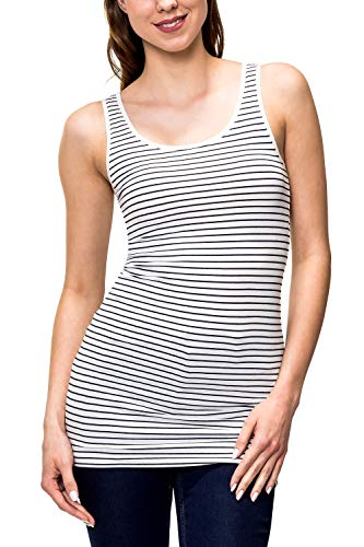 ONLY Damen Tank Top Basic Shirt Stretch O-Neck Print Longtop 15159176 Liva (L, Cloud Dancer/Night Sky Stripes)
