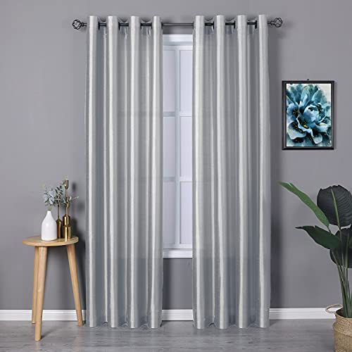 HEJEME Faux Silk Window Curtains (54 x 84inch) with Grommet - Light Filtering Dupioni Silk Drapes Window Treatment Set for Bedroom, Living Room & Dining Room, Set of 2 Panels (Silver Grey)