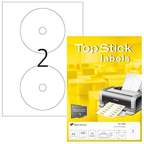 TopStick 8656 CD Etiketten DIN A4 (Ø 117 mm Maxi, 100 Blatt, Papier, matt) selbstklebend, bedruckbar, permanent haftend CD-Aufkleber, 200 Klebeetiketten, weiß