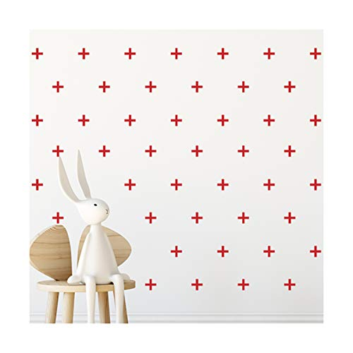 StickerDeen | Plus Add Sign Cross Shape Decor - Pegatinas de vinilo extraíbles para pared (92 unidades), color rojo