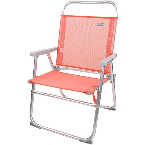 Aktive 62624 - Silla plegable alta aluminio, coral