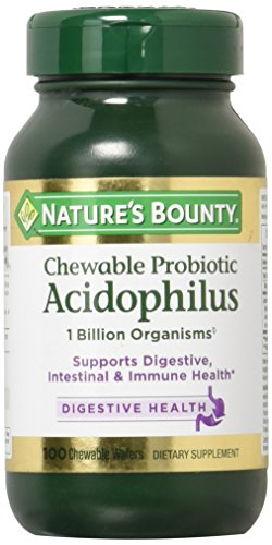 Nature's Bounty Acidophilus Chewable Wafers, Natural Strawberry