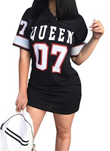 SIMYJOY Camisa de Mujer y niña Vestido Hip Pop Queen Número Impreso Camisa Vestido de Baile Deportivo Ropa Informal