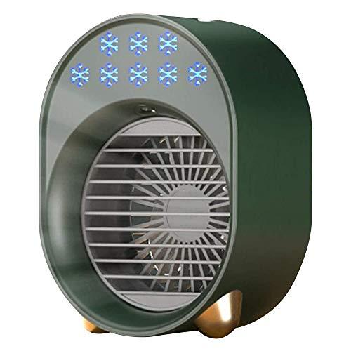 Ventilador de Aire frío USB para el hogar, humidificador, Ventilador de refrigeración por Agua en Aerosol, luz LED de 6 Colores, Enfriador de Aire Personal, Ventilador silencioso,Verde