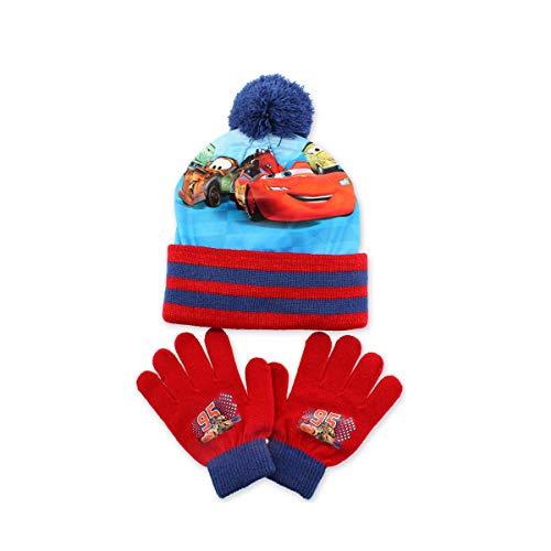 Cars – Flash McQueen Jungen Set Mütze mit Bommel + Handschuhe Gr. One size, PONPOM BLEU
