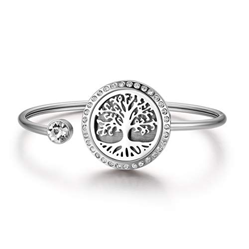 JewelryWe Schmuck Damen Armband Edelstahl Lebensbaum Baum des Lebens Aromatherapie Diffusor ätherisches Öl Parfum Armreif, Silber