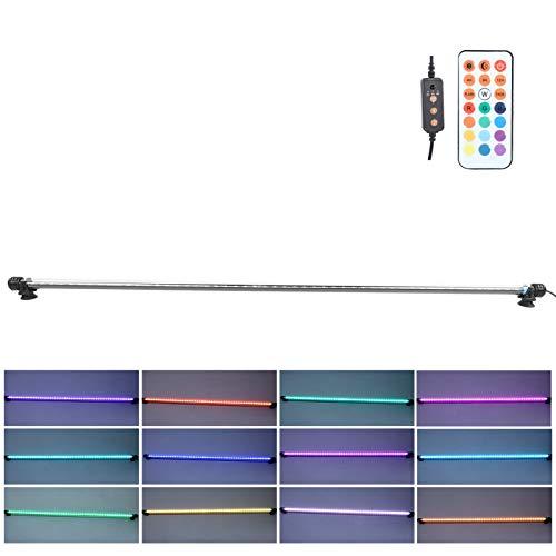 Ausla Luz RGB para acuario, 9 W, 51 ledes, iluminación LED para acuario, lámpara LED con mando a distancia de 24 teclas, 16 colores, IP68 resistente al agua (220 V)