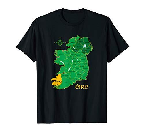 Kerry Ireland T Shirt Irish County Map Eire Irish Travel