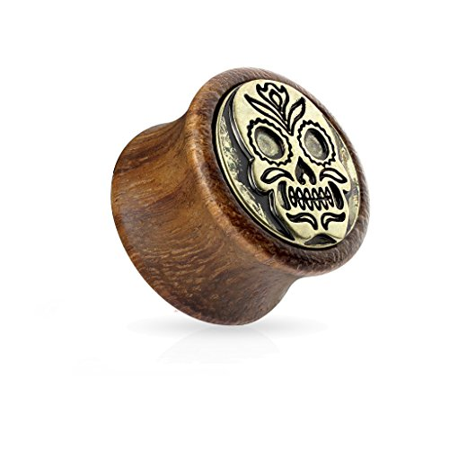 BlackAmazement Flesh Tunnel Plug Inlay Piercing Sono Holz Tibetan Skull Tibet Totenkopf Biker Herren Damen (12 mm - 1 Stück)