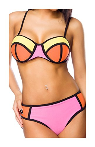 luxury & good Dessous Neopren-Push-Up-Bikini mit Colour-Blocking S
