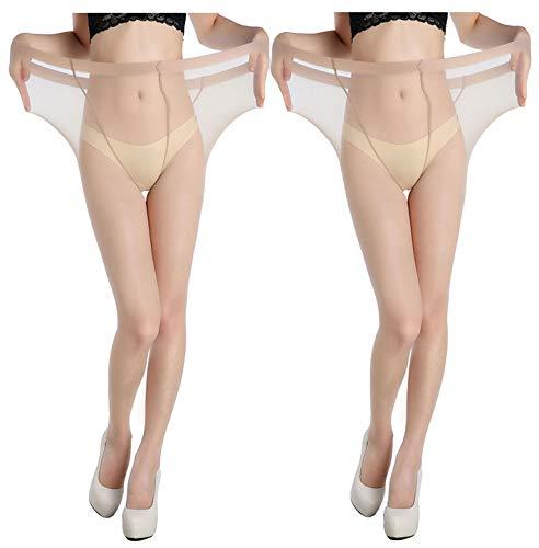 Yulaixuan Womens Run-resistente 3-Paar-Strumpfhose mit langem Strumpf von 15 Denier Verstärkte Strumpfhose Strümpfe (Plus Größe 2 Hautfarbe)