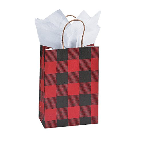 BUFFALO PLAID SM CRAFT BAGS - Party Supplies - 12 Pieces