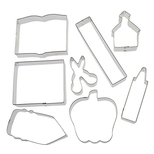 Back To School Teacher Appreciation 8 Pc Cookie Cutter Set HS0426-4.25 in Text Book, 6 in Ruler, 4.25 in Crayon, 4 in Note Pad, 3 in Scissors, 3.25 in Schoolhouse, 4 in Apple, 4.5 in Pencil. - Foose