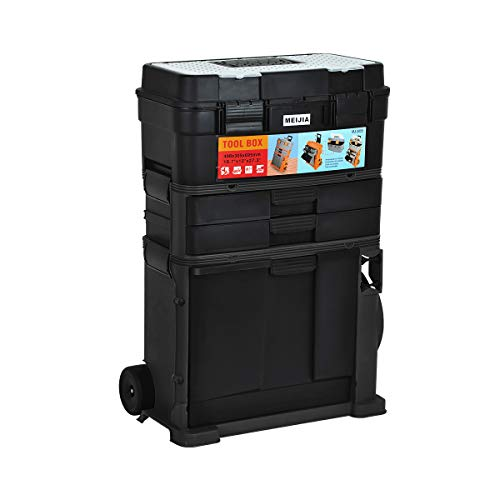 MEIJIA Heavy Duty 3-IN-1 Removable Storage Tray Rolling Toolbox With Retractable Handle, Removable Storage Tray –Chest & Cabinet Storage Box, Garage Toolbox Organizer,Black,19.1x12.40x28.03inches