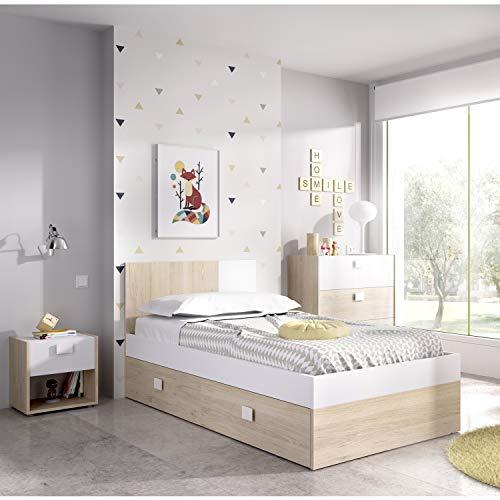 HABITMOBEL Cama Juvenil con CAJONES Acabado Natural y Blanco, Medidas Alto 79 cm x Largo 196 cm x Fondo 97 cm