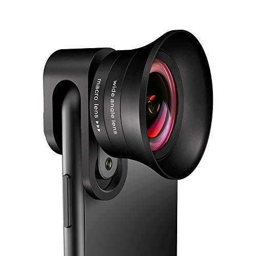 Phone Camera Lens Pro - ANGFLY 4K HD 2 in 1 Aspherical Wide Angle Lens & Super Macro Lens,Clip-On...
