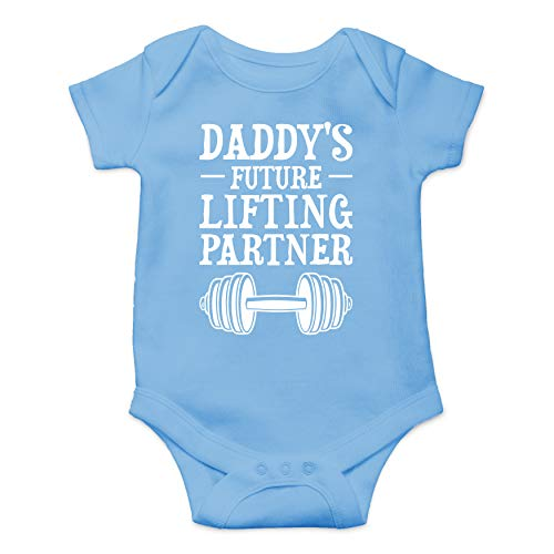 Daddy's Future Lifting Partner - Funny Cute Infant Creeper, One-Piece Baby Bodysuit (Light Blue, 6 Months)