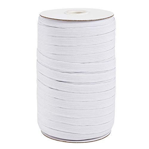 100 Yards 3/8' Elastic Band Flat White Heavy Stretch Knit Cord 10mm Elastic Rope Strap for Ear Tie Earloop Sewing