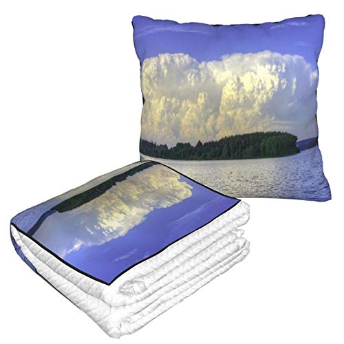 AEMAPE Pretty Clouds River Trees Reed Car Pillow Blanket Sofa Blanket, Travel Pillow Blanket, Warm and Thick, Airplane Plush Neck Pillow Thrown for Sleep