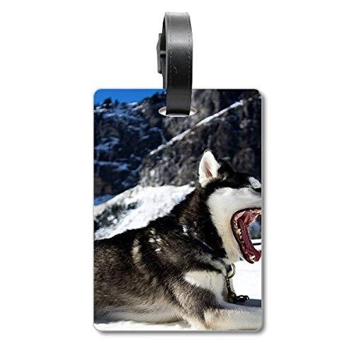 Big Mouth Dog - Etiqueta de identificación para Maleta, diseño de Perro con Texto en inglés Snow Husky