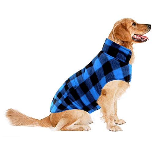 ASENKU Dog Coat, Dog Fleece Jacket Plaid Reversible Dog Winter Vest Waterproof Windproof Cold Weather Dog Clothes Pet Apparel for Small Medium Large Dogs (L, Blue)